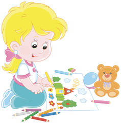 Little girl drawing a funny picture with color pencils, vector illustration in a cartoon style