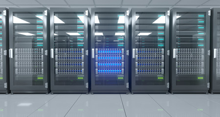 Big High Tech Server Data Center With Reflective Floor And A Lot Of Servers Artificial Intelligence Concept. 3D Rendering
