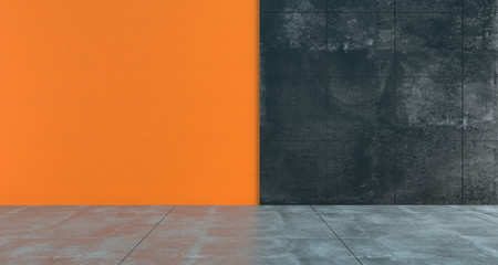 High Contrast Empty Room With Orange And Dark Concrete Walls Minimalistic Concept.3D Rendering