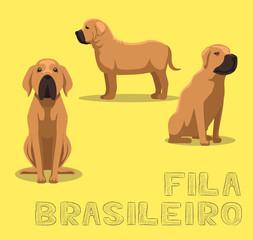 Dog Fila Brasileiro Cartoon Vector Illustration