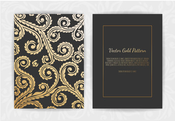 Gold vintage greeting card on a black background.