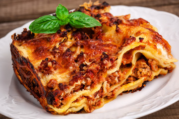 delicious meat lasagna with basil