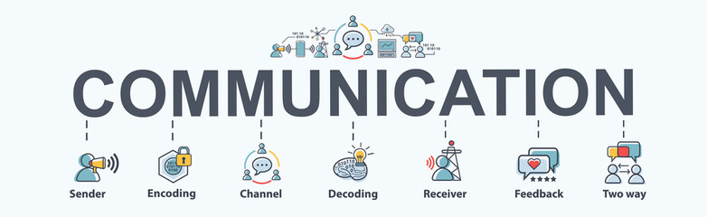 Communication banner web icon for business, sender, encoding, channel, decoding, receiver and feedback. Minimal vector infographic.