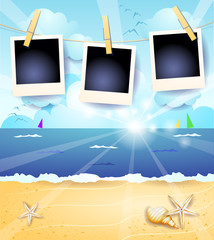 Summer seascape with sunrise and photo frames