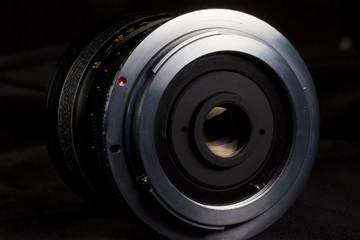 Wide vintage lens aperture mount. M42 adapter. DSLR lens back.
