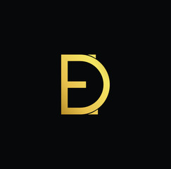 Creative modern professional unique artistic gold color DE ED initial based Alphabet icon on black background