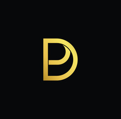 Creative modern professional unique artistic gold color DP PD initial based Alphabet icon on black background
