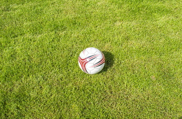 soccer ball on the grass top view