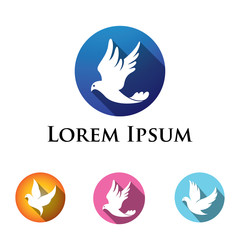 Dove Pigeon Bird Logo in Circle Shape