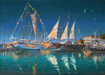 Artwork: Big yachts in Sochi. Author: Nikolay Sivenkov.