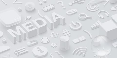 Grey 3d media background with web symbols.