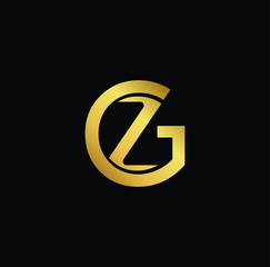 Creative modern professional unique artistic gold color GZ ZG initial based Alphabet icon on black background