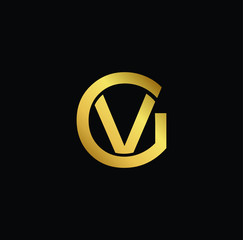 Creative modern professional unique artistic gold color GV VG initial based Alphabet icon on black background