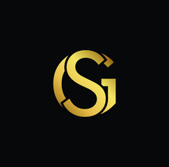 Creative modern professional unique artistic gold color GS SG initial based Alphabet icon on black background