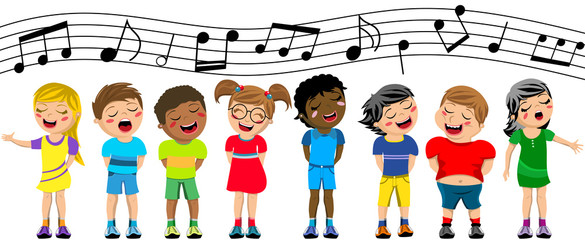 Happy multicultural kids or children standing and singing in a chorus isolated Fotobehang