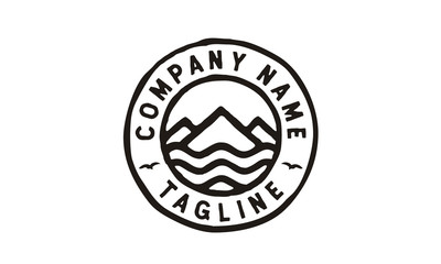 Hipster Mountain and Sea logo design inspiration