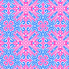 Seamless embroidered pattern. Prints for textiles. Ornament in patchwork style. Pink, blue and white colors.
