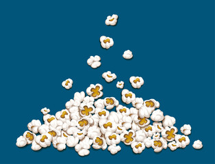 Popcorn fall down on heap isolated blue background. EPS10 vector