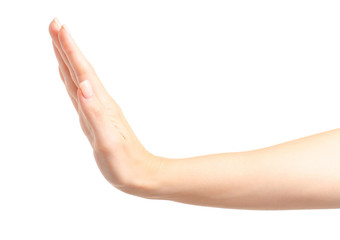 Female hand gives five on a white background isolation
