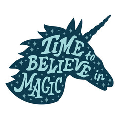 Unicorn silhouette vector head with motivation quote