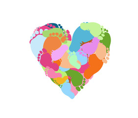 Many foot prints in multi-colored paints in the form of a heart. Pregnancy, love, schatye, day of protection of children.