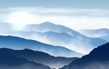 Fototapete - Vector blue beautiful foggy mountains with sun and clouds in the sky