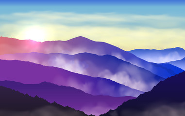 Fototapete - Vector beautiful colorful silhouettes of misty mountains with sun and clouds in the sky