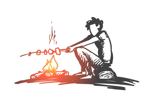 Boy, campfire, summer, rest, scout concept. Hand drawn isolated vector.