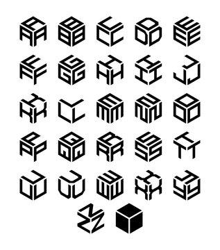 Cubic geometric alphabet set. Vector isometric logos.