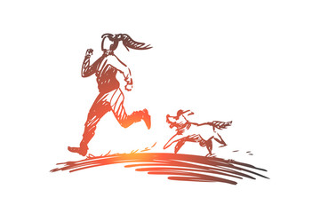 Girl, dog, run, sport, jogging concept. Hand drawn isolated vector.