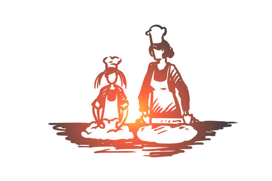 Mother, daughter, cooking, parenting concept. Hand drawn isolated vector.