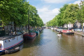 Dutch canal scene in Amsterdam in the Netherlands