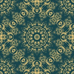 Floral Geometric Pattern with hand-drawing Mandala. Vector super illustration. For fabric, textile, bandana, scarg, print.