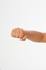 Black Woman fist isolated on a white background. afro american fist. Front view. Mock up. Copy space. Template. Blank.