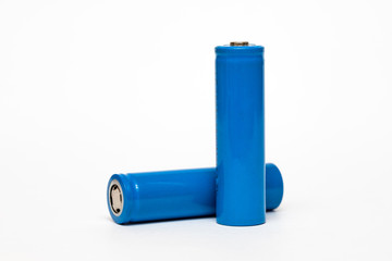Batteries 18650 is isolated on white background.real photo in high resolution