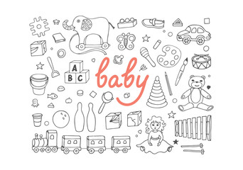 Set of sketches from different toys on white background. Hand drawn baby vector illustration.
