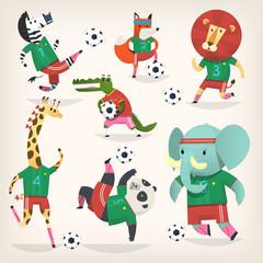 Team of wild animals playing football. Second team.