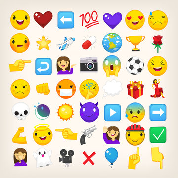 Collection of graphic emoticons, signs and symbols used in online chats.