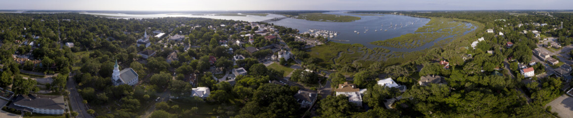 Aerial 360 degree panorama of historic district of Beaufort, South Carolina, USA.