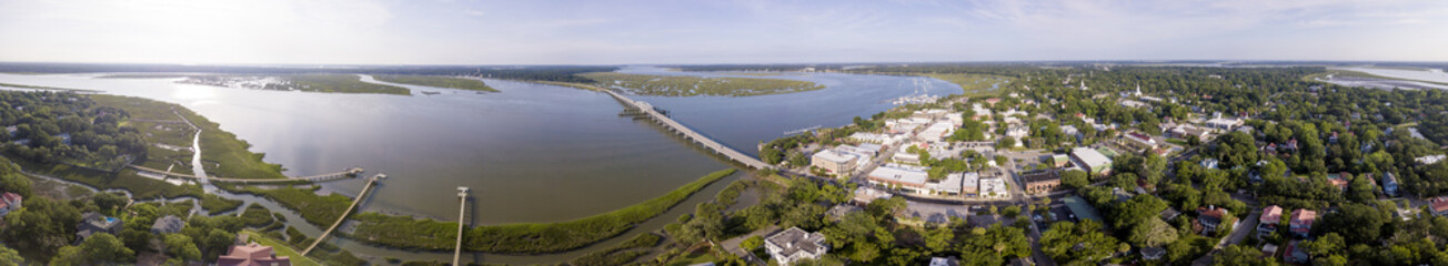Aerial 360 degree panorama of Beaufort, South Carolina historic district,