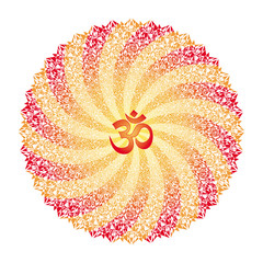 Openwork mandala in red and yellow tones with the Aum / Ohm / Om sign. Ornament of rotation. Vector picture.