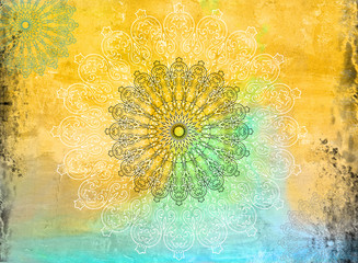 Geometric Mandala Grunge Background