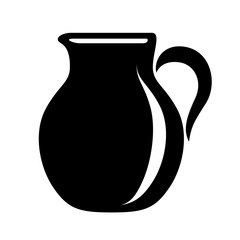 Jug milk or water canister. Pitcher logotype in simple style.