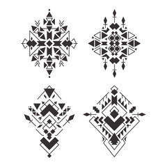 Abstract geometric aztec patterns set. Mexican tribal ethnic design. Indian traditional ornament. Collection of elements for decoration, card, tattoo, cover, Vector illustration isolated on white.