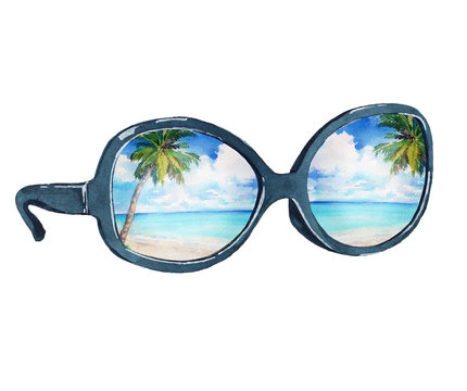 Watercolor illustration of sunglasses with reflection of the tropical beach, palms, ocean and blue sky. Isolated on white background.