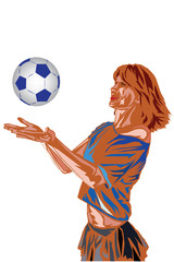 Girl with soccer ball.Vector / vector illustration with scene of the beautiful young girl playing with soccer ball