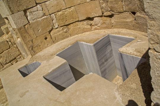Baptistmal Cross Shaped Font in Avdat Ancient Nabataean Settleme