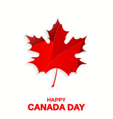 Happy Canada Day poster. Maple leaf on white background. Vector illustration.