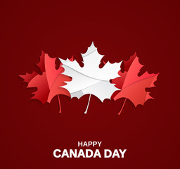 Happy Canada Day card on red background with paper cut maple leafs. Vector illustration.