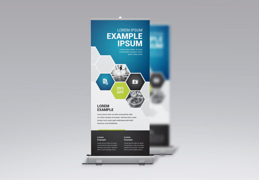 Business Banner Layout with Blue and Green Gradient